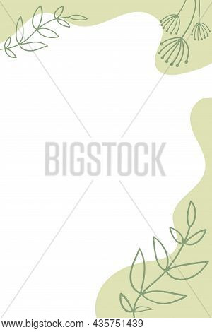 Abstract Background With Hand Drawn Botanical Elements And Stains Dots Stripes Waves. Doodle Covers