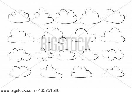 Cloud Set In Hand Drawn Doodle Sketch Style, Simple Outline Clouds