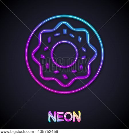 Glowing Neon Line Donut With Sweet Glaze Icon Isolated On Black Background. Vector