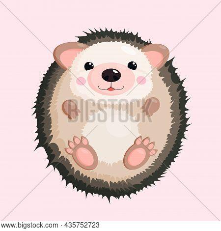 Vector Illustration Of A Little Cute Hedgehog, Funny Cartoon Character.