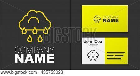 Logotype Line Cloud With Rain Icon Isolated On Grey Background. Rain Cloud Precipitation With Rain D
