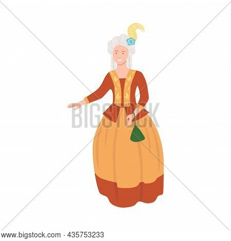 Aristocratic Lady In Luxury Historical Costume Of 18th Century. Rococo Fashion Style Cartoon Vector