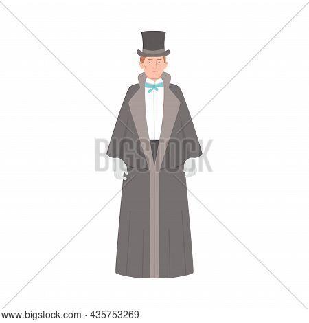 Man In Historical Costume Of 19th Century. Victorian Fashion Cartoon Vector Illustration