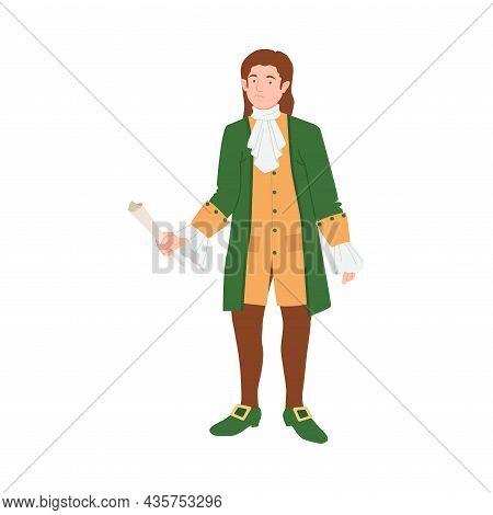 Man In Historical Costume Of 18th Century. Rococo Fashion Cartoon Vector Illustration