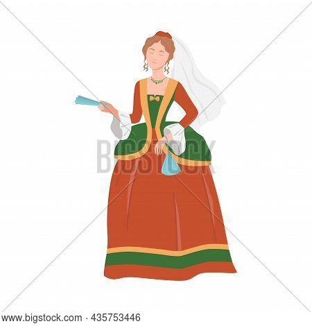 Beautiful Aristocratic Lady In Luxury Historical Costume Of 18th Century Cartoon Vector Illustration