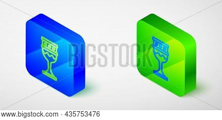 Isometric Line Medieval Goblet Icon Isolated Grey Background. Holy Grail. Blue And Green Square Butt