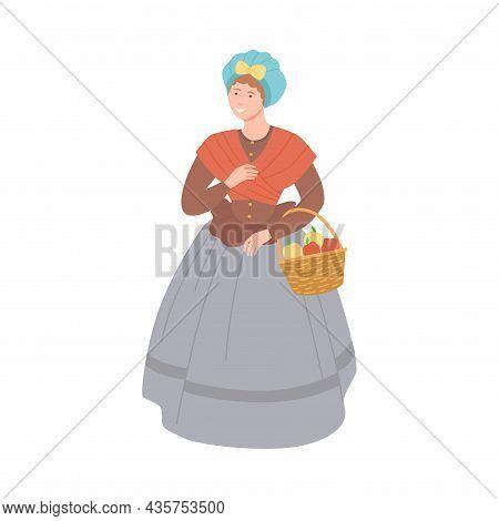 Tradeswoman In Historical Costume Of 18th Century Cartoon Vector Illustration