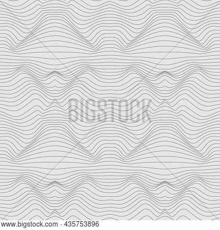 Wavy Monochrome Linear Texture. An Abstract Relief Background With Optical Illusion Of Distortion. M
