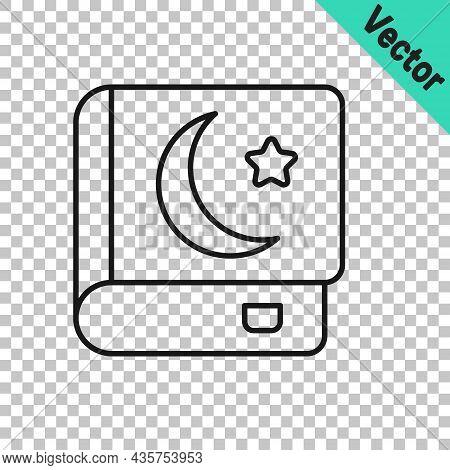 Black Line Holy Book Of Koran Icon Isolated On Transparent Background. Muslim Holiday, Eid Mubarak,