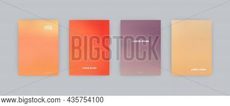 Set Of Vector Cover Templates. Orange, Red And Violet Colors Blurred Background. For Flyers, Posters