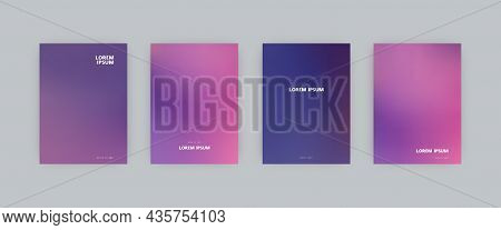 Set Of Vector Cover Templates. Blue And Pink Colors Blurred Background. For Flyers, Posters And Plac