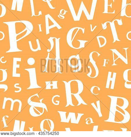 Various Letters Seamless Pattern In Typographic Style. White Print On Yellow Background. Vector Illu