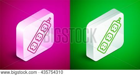 Isometric Line Electric Extension Cord Icon Isolated On Pink And Green Background. Power Plug Socket
