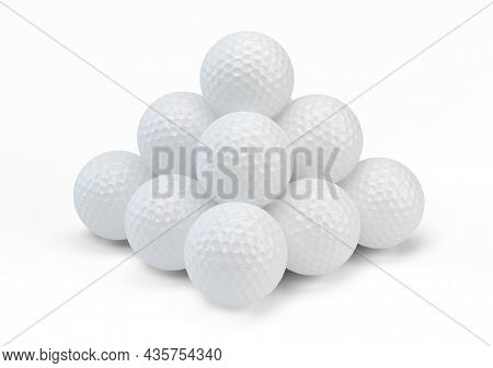 Golf balls isolated on white background. 3d rendering