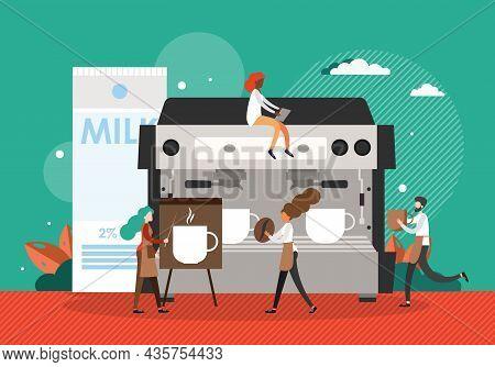 Barista Characters Making Coffee, Giving Presentation, Flat Vector Illustration. Coffee Barista Onli