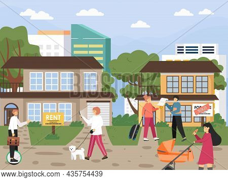 Real Estate For Sale Or Rent. People Searching House With Online Service, Flat Vector Illustration.