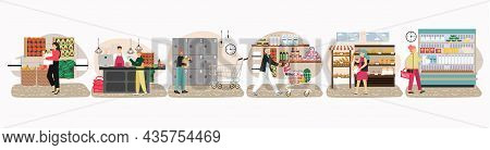 Shoppers In Supermarket, Grocery Store, Food Shop, Market, Flat Vector Illustration. People Shopping