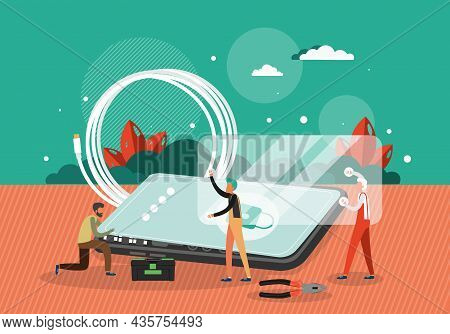 Technician Repairman Cartoon Characters Fixing Smartphone, Vector Illustration. Mobile Repair And Ma