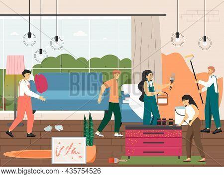 Home Renovation And Improvement. Furniture Repair And Restoration. Handyman Service, Vector Illustra