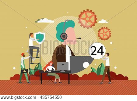 24-7 Customer Service. Call Center Operator Wearing Headset, Vector Illustration. Online Technical S