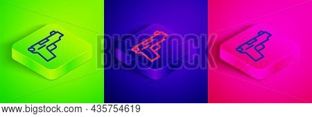 Isometric Line Pistol Or Gun Icon Isolated On Green, Blue And Pink Background. Police Or Military Ha