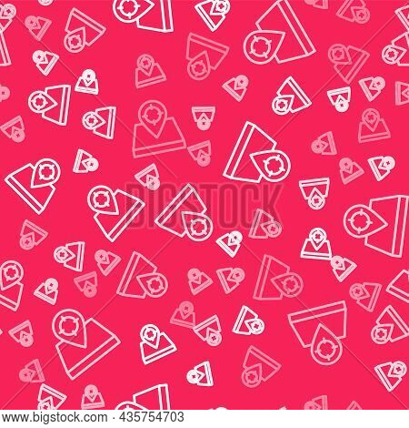 White Line Hunt Place Icon Isolated Seamless Pattern On Red Background. Navigation, Pointer, Locatio