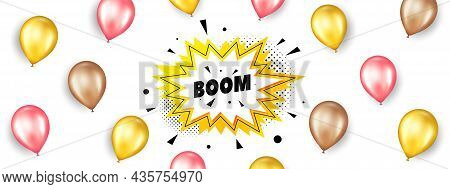 Boom Sale Sticker. Promotion Ad Banner With 3d Balloons. Discount Banner Shape. Coupon Bubble Icon.