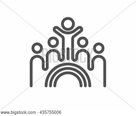 Inclusion Line Icon. Equity Culture Sign. Lgbt Rainbow Symbol. Quality Design Element. Line Style In