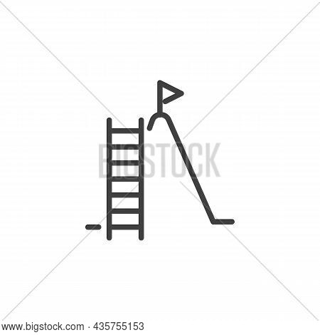 Career Ladder Line Icon. Linear Style Sign For Mobile Concept And Web Design. Ladder And Flag Outlin
