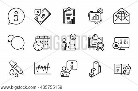 Education Icons Set. Included Icon As 3d Chart, Web Mail, Stock Analysis Signs. Statistics Timer, Re