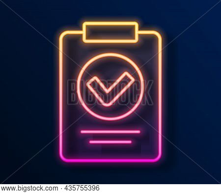 Glowing Neon Line Medical Prescription Icon Isolated On Black Background. Rx Form. Recipe Medical. P