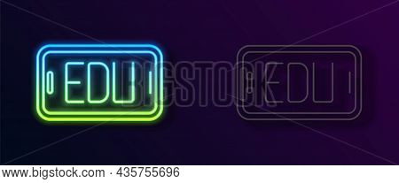 Glowing Neon Line Online Education And Graduation Icon Isolated On Black Background. Online Teacher