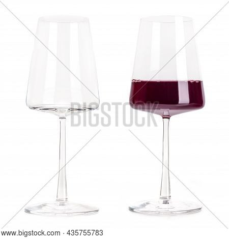 Red Wine Power Glass, Empty And Full, Isolated On A White Background. Trendy Modern Wineglass, A Set