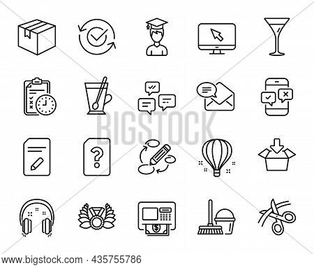 Vector Set Of Atm, Keywords And Air Balloon Line Icons Set. Parcel, Bucket With Mop And Edit Documen
