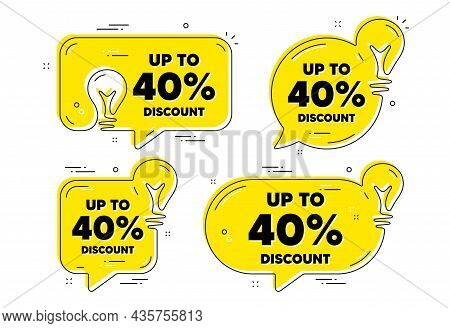 Up To 40 Percent Discount. Idea Yellow Chat Bubbles. Sale Offer Price Sign. Special Offer Symbol. Sa