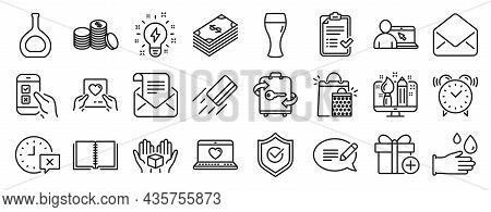 Set Of Line Icons, Such As Beer Glass, Banking Money, Inspiration Icons. Cognac Bottle, Add Gift, Al