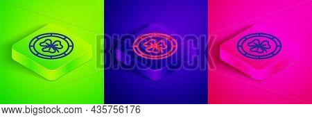 Isometric Line Golden Leprechaun Coin With Clover Trefoil Leaf Icon Isolated On Green, Blue And Pink