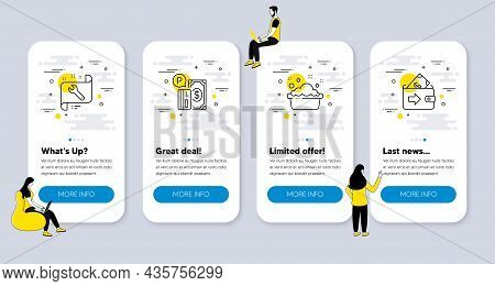 Vector Set Of Business Icons Related To Parking Payment, Spanner And Hand Washing Icons. Ui Phone Ap