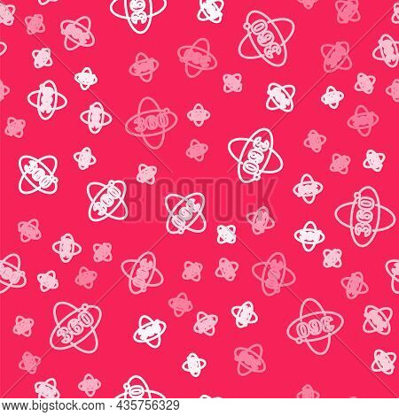 White Line 360 Degree View Icon Isolated Seamless Pattern On Red Background. Virtual Reality. Angle