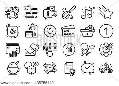Vector Set Of Star Target, Correct Checkbox And Approved Line Icons Set. Calendar Report, Money Wall