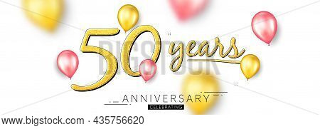 50 Years Anniversary. Happy Birthday Balloons Background. Fifty Years Celebration Icon. Anniversary