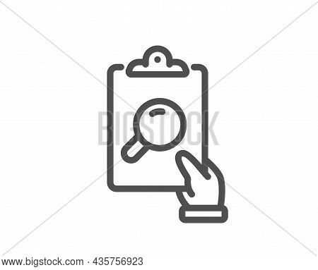 Inspect Line Icon. Clipboard Research Sign. Verification File Symbol. Quality Design Element. Line S
