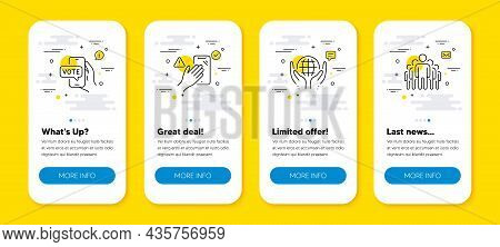 Vector Set Of Organic Tested, Online Voting And Dont Touch Line Icons Set. Ui Phone App Screens With