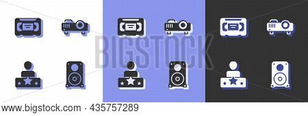 Set Stereo Speaker, Vhs Video Cassette Tape, Actor Star And Movie, Film, Media Projector Icon. Vecto