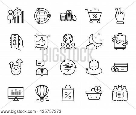 Vector Set Of Eco Energy, Shopping Bag And Night Weather Line Icons Set. Global Business, Augmented