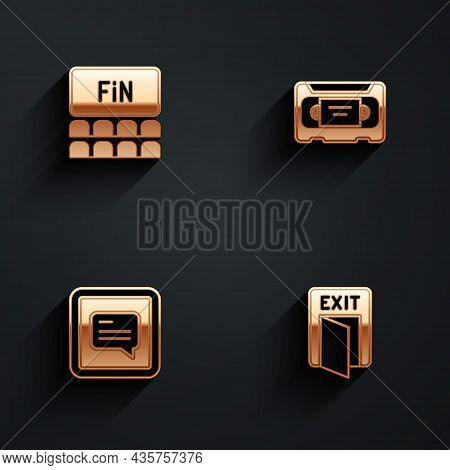 Set Cinema Auditorium With Screen, Vhs Video Cassette Tape, Video Subtitles And Fire Exit Icon With