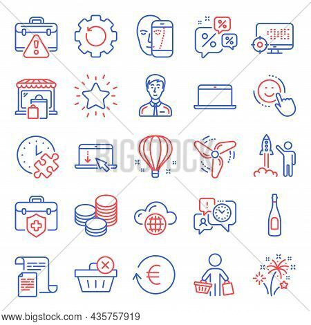 Business Icons Set. Included Icon As Smile, Wind Energy, Delete Purchase Signs. Businessman Person,