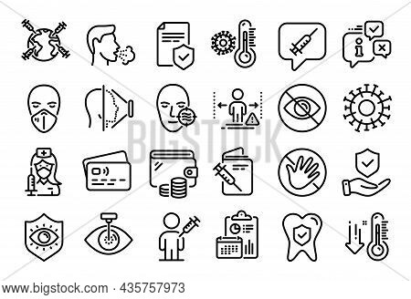 Vector Set Of Insurance Policy, People Vaccination And Medical Mask Line Icons Set. Calendar Report,