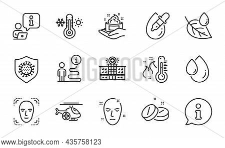 Healthcare Icons Set. Included Icon As Skin Care, Face Detection, Medical Helicopter Signs. Medical