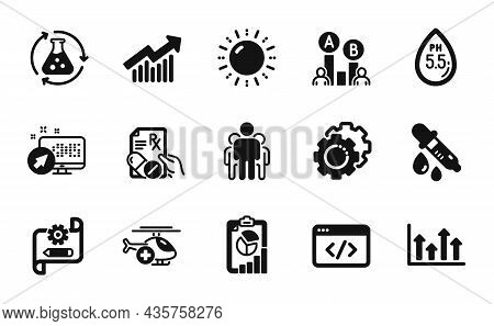 Vector Set Of Medical Helicopter, Demand Curve And Group Icons Simple Set. Sun Energy, Settings Gear